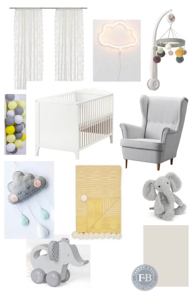 Mood board and inspiration for a gender neutral baby nursery featuring a grey and yellow colour scheme