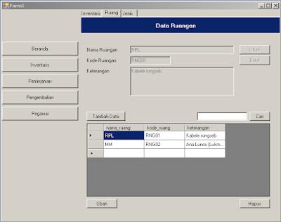 Desain form ruang pada Aplikasi Inventaris