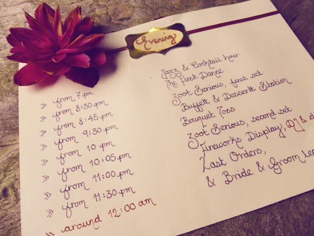 Wedding day itinerary