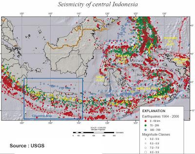 Indonesia Timur dan pantai Utara Jawa daerah paling rawan gempa