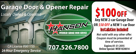 Holiday Garage Door Installation Special for Sonoma, Napa and Marin Counties!