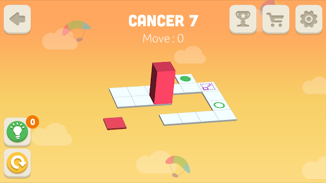 Bloxorz Cancer Level 7 step by step 3 stars Walkthrough, Cheats, Solution for android, iphone, ipad and ipod