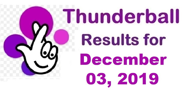 Thunderball Results for Tuesday, December 03, 2019