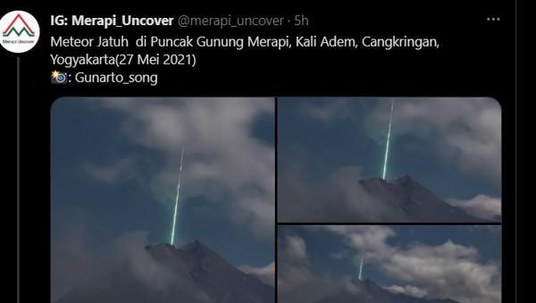 Viral Foto Diduga Meteor Jatuh di Puncak Gunung Merapi