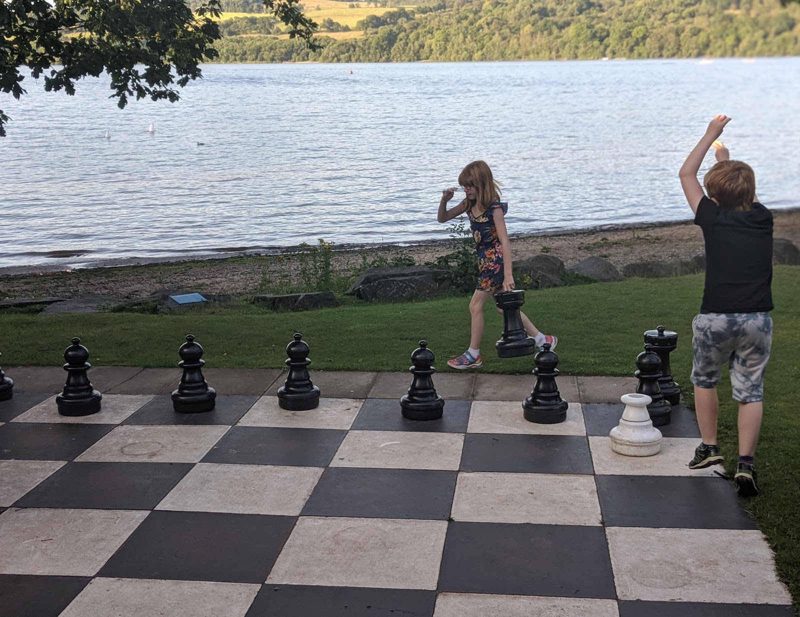 A Short Break at Cameron Lodges, Loch Lomond - the boat house - giant chess