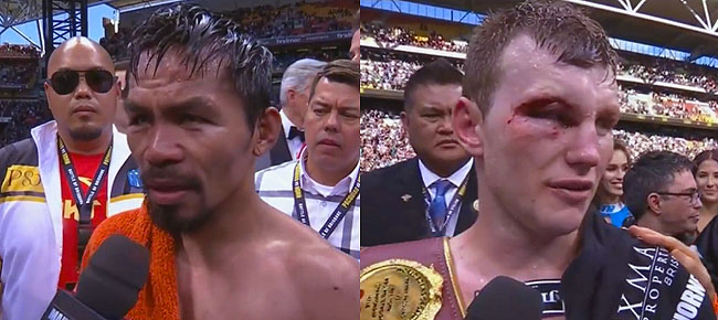 Manny Pacquiao & Jeff Horn Post-Fight Interviews (VIDEO)
