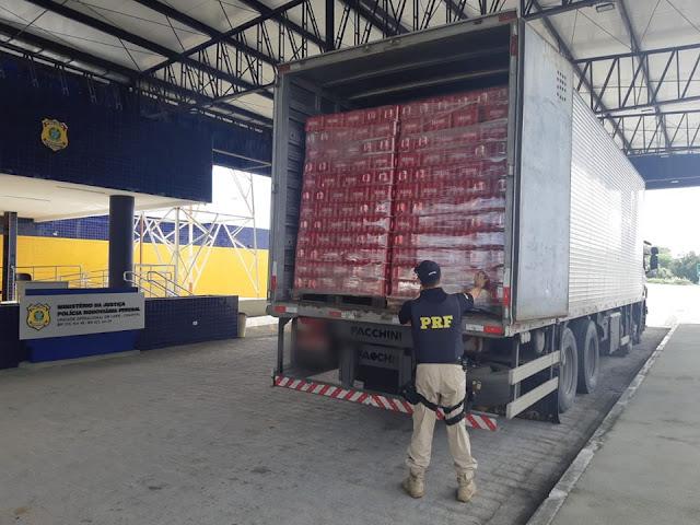 Em Canapi/AL, carga de cerveja avaliada em mais de R$ 100 mil é apreendida sem nota fiscal pela  PRF/AL na BR 423