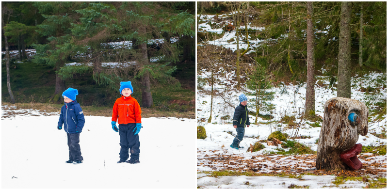 Children playing in the spring snow on mount floyen