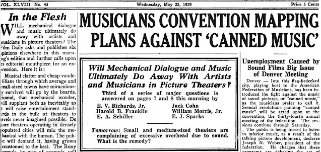 pre-recorded theater music in 1929 was protested by musicians, a newspaper article