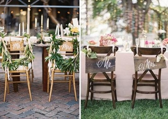 Bridal chair decorating steves decor wooden signs written with mr and mrs hang on the backs of the bride and grooms chairs is a great alternative for rustic chic and vintage wedding theme junglespirit Gallery