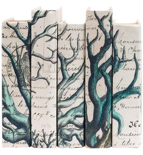 Decorative Book Binding with Coral Branch Wrapping Paper