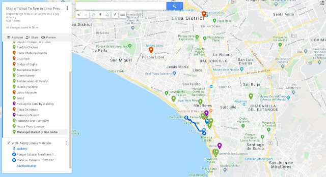 3 days in Lima Peru Map