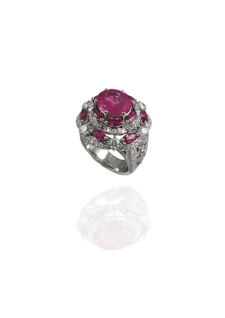 Mirari's GRS Certified 3.99 ct Burmese Ruby ring handcrafted in 18kt White Gold