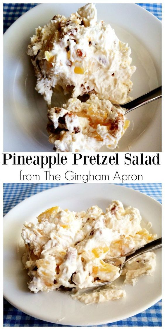 "You know those fluff salads all the old ladies would bring to the church potluck?  Well, this is not one of them!  Although, it probably falls into the ""fluff salad"" category, this  Pineapple Pretzel Salad is the perfect blend of sweet and salty that people of all ages enjoy, not just your Grandma."