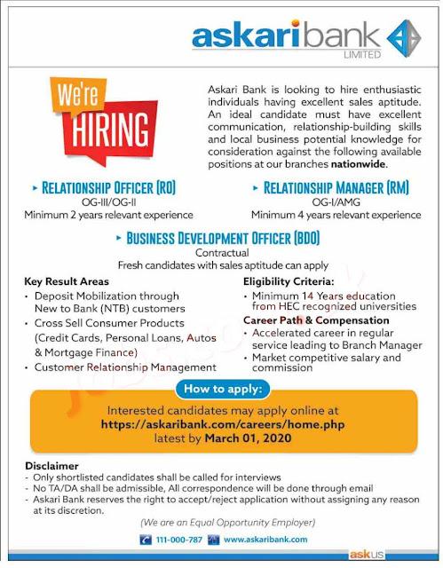 Askari Bank Jobs 100+ Post Apply Online