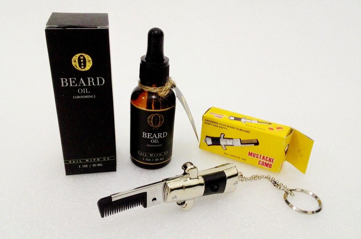 Paket Hemat Ombak Beard Oil + Switchblade Mustache Comb