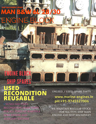 Engine Block, MAN B&W, 6L28/30, spare parts, recondition,ship machinery, used, unused, reusable, source, supplier, India, ship breaking yard