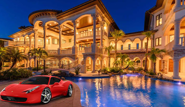 A luxurious mansion with a lot of lights, a big swimming pool and a red Ferrari in front of it.