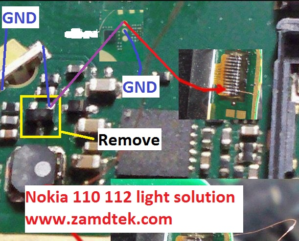 Nokia 110 112 lcd/screen and keypad light solution
