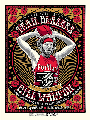 Portland Trailblazers 50th Anniversary Bill Walton Screen Print by Stolitron x Phenom Gallery
