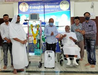 श्री मोहनखेड़ा महातीर्थ में श्री राजेन्द्रसूरि जैन चिकित्सालय में अनेस्थेटिक बाइल्स मषीन भेट की गई