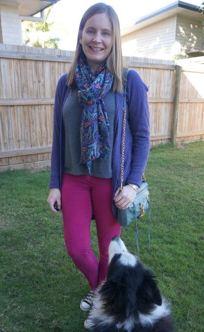 pink and purple skinny jeans and grey tee outfit matching printed scarf | awayfromblue