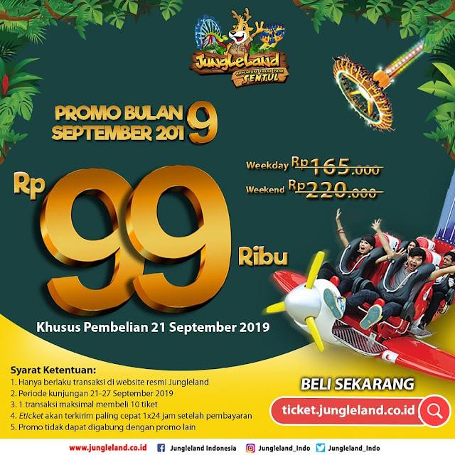 #JungleLand - #Promo Harga Tiket Hanya 99K di Bulan 9 2019 (21 - 24 Sept 2019)
