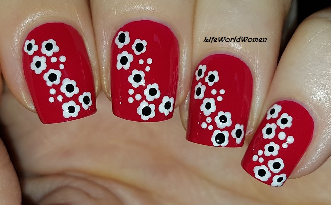 Life world women toothpick nail art red nails with white flowers toothpick nail art red nails with white flowers prinsesfo Images