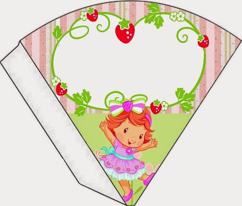 Conos= Cucuruchos para Imprimir Gratis de Fiesta de Strawberry Shortcake bebé.