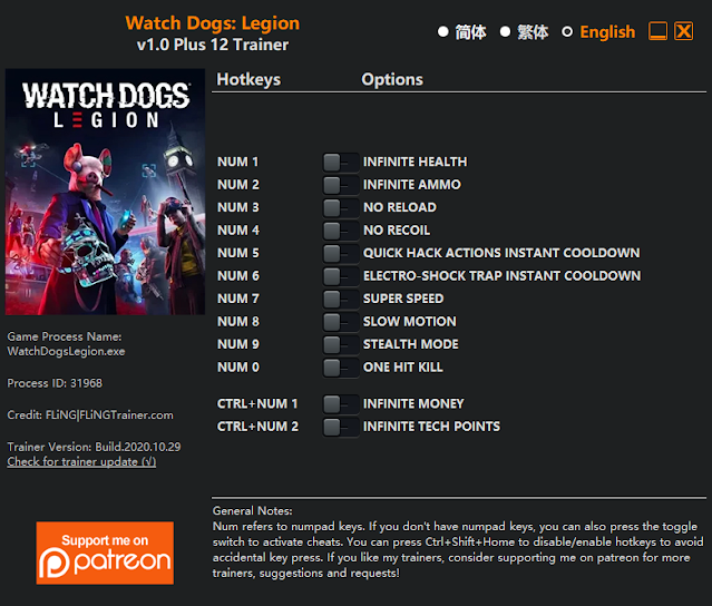 Tampilan Menu Trainer Watch Dogs: Legion PC