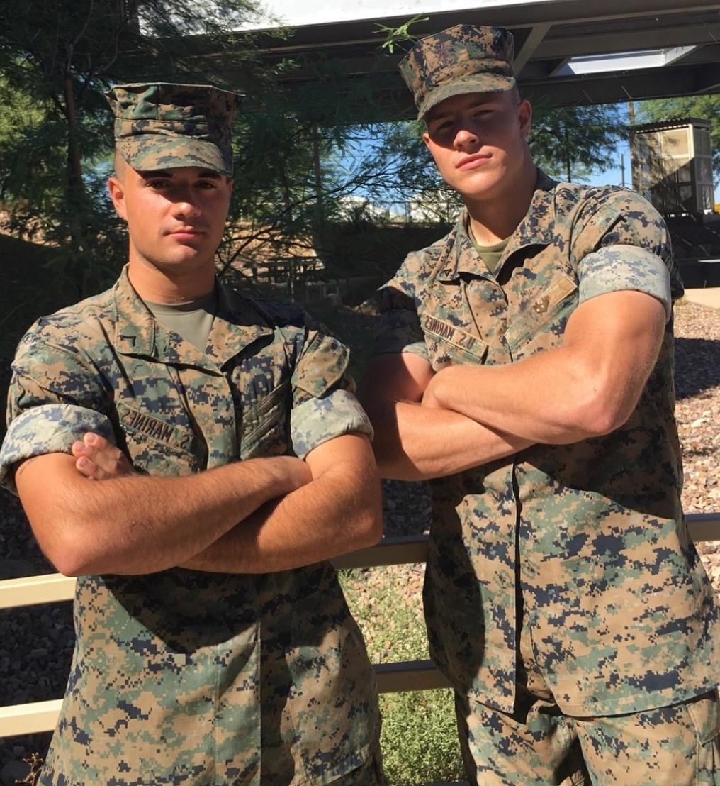 two-handsome-male-army-soldiers-uniform-on-duty