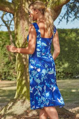 Royal Blue Floral Panel and Flare short sundress back side