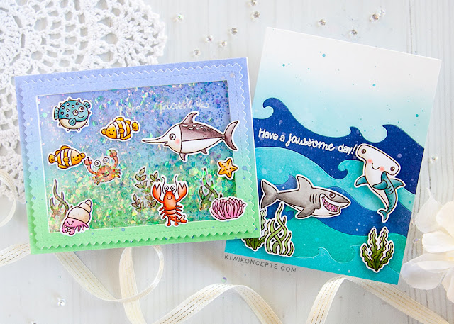 Sunny Studio Stamps: Best Fishes Catch A Wave Dies Frilly Frames Dies Ocean Themed Cards by Keeway Tsao