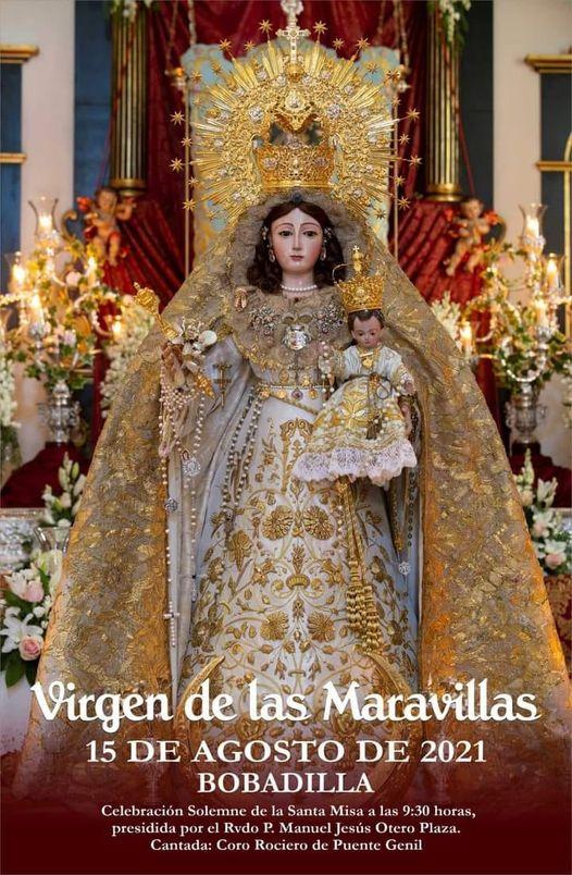 Cartel anunciador de la festividad de Nuestra Señora de las Maravillas Coronada, patrona de Bobadilla Pueblo (Antequera) 2021