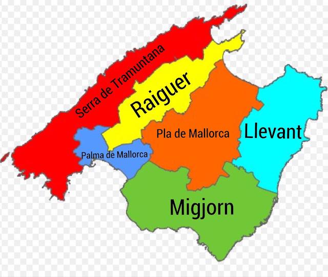 Mapa das Regiões de Mallorca.