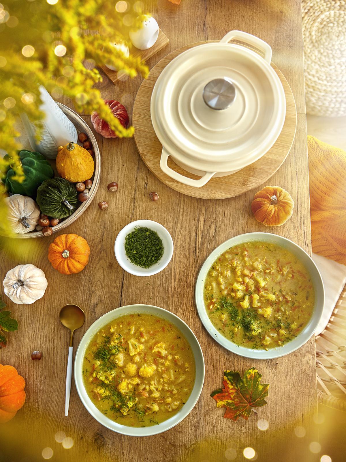 zupa kalafiorowa, zupa rozgrzewająca, kraina miodem płynąca, zupa z kaszą jaglaną