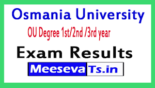 Osmania University OU Degree 1st/2nd /3rd year Exam Results 2017