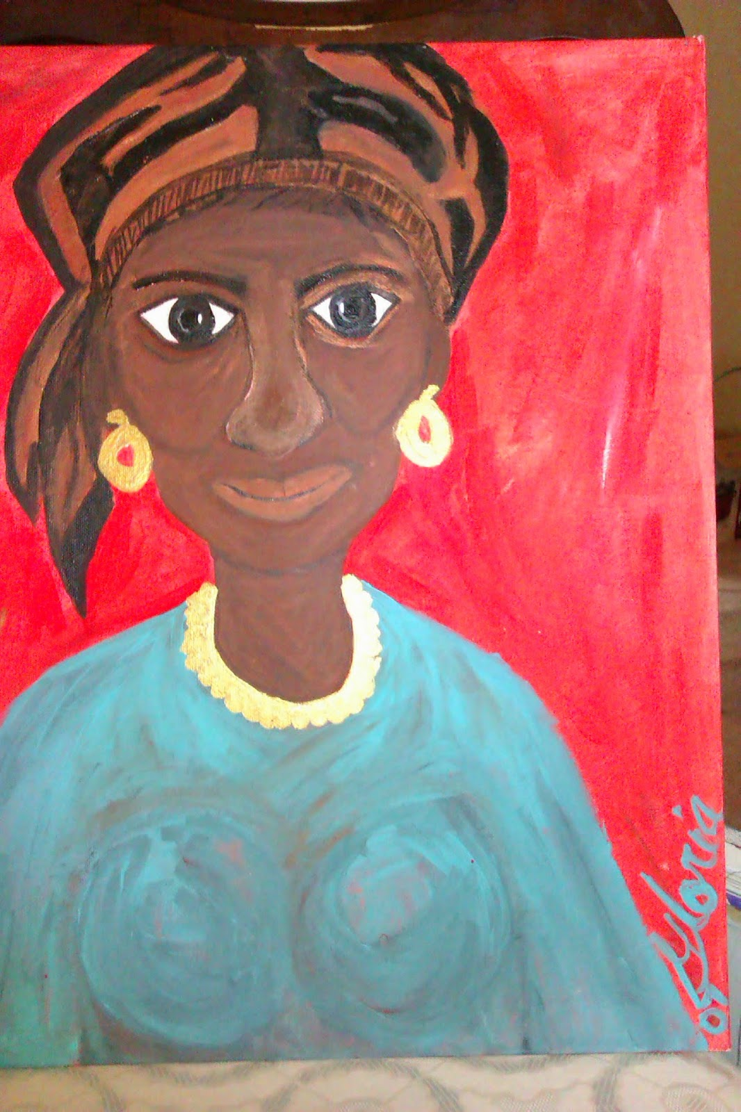 """African lady with turban"" ethnic painting by Gloria Poole of Missouri; acrylics"