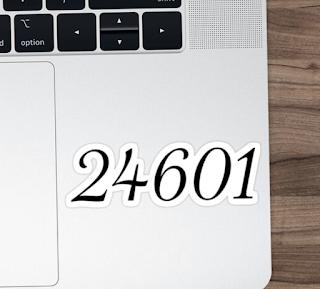 24601 Les Mis Sticker On Laptop For Sale Redbubble