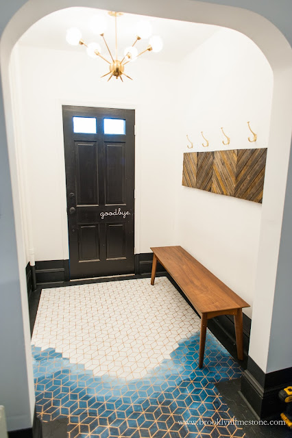 Hand painted floor facing front door from inside