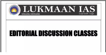 Lukmaan IAS Editorial Discussion Classes 2019 PDF - Upsc Materials