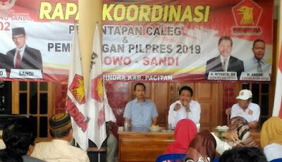 Tim Pemenangan Prabowo-Sandi Dapil Jatim 7 Sambangi DPC Partai Gerindra Pacitan