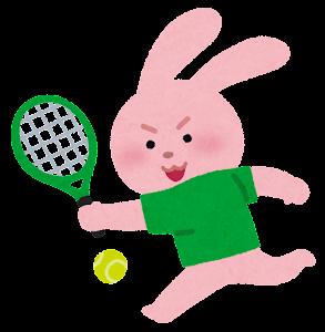 テニスをやる動物のキャラクター(うさぎ)