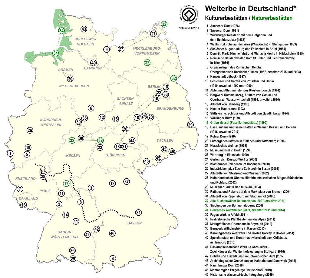 德國世界遺產地圖(2019年07月)