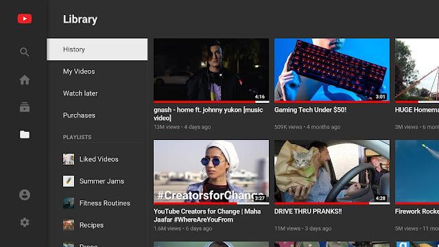 Youtube de Android TV com cara renovada
