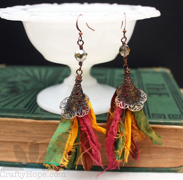autumn tassel earrings - sari silk, copper filigree, crystals