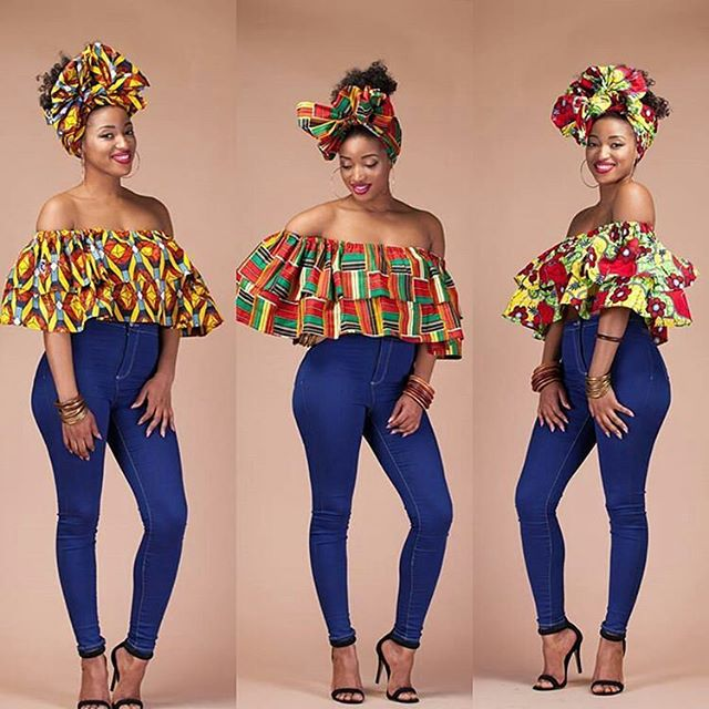 ankara off shoulder and jeans style