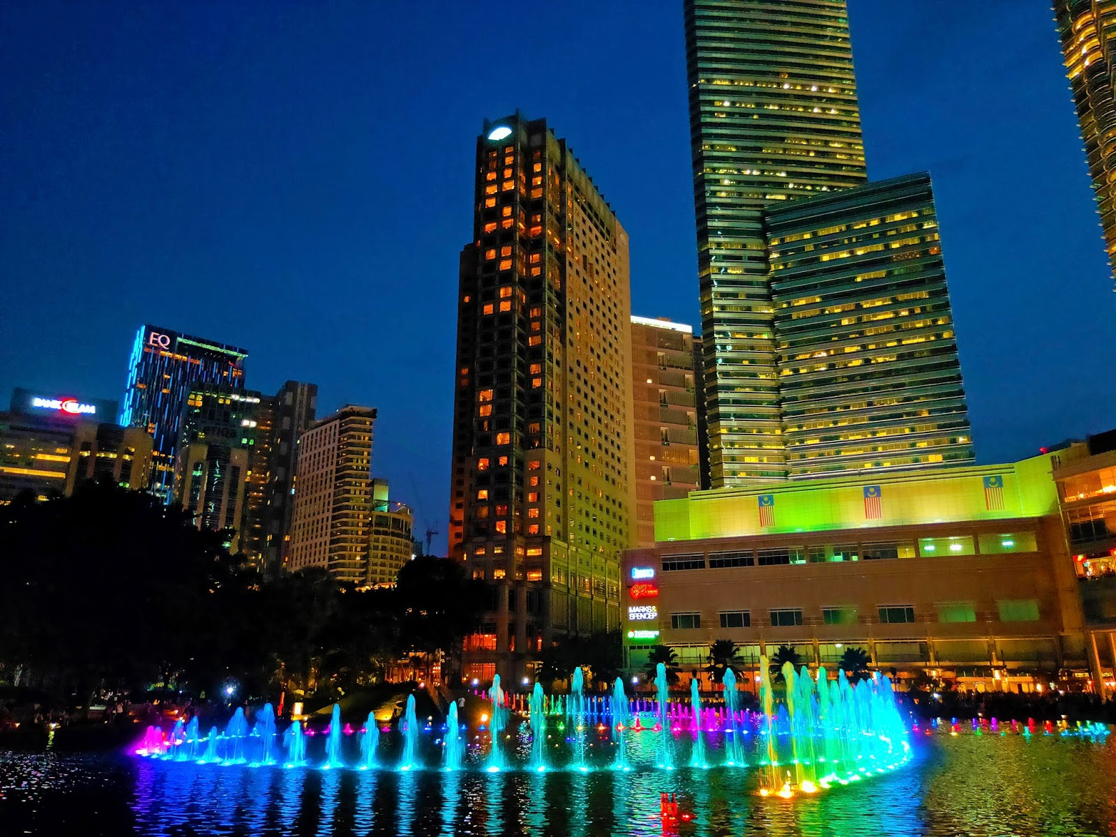 colorful fountain klcc