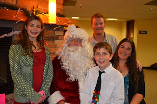 Taekwondo family celebrating Christmas with Santa Claus