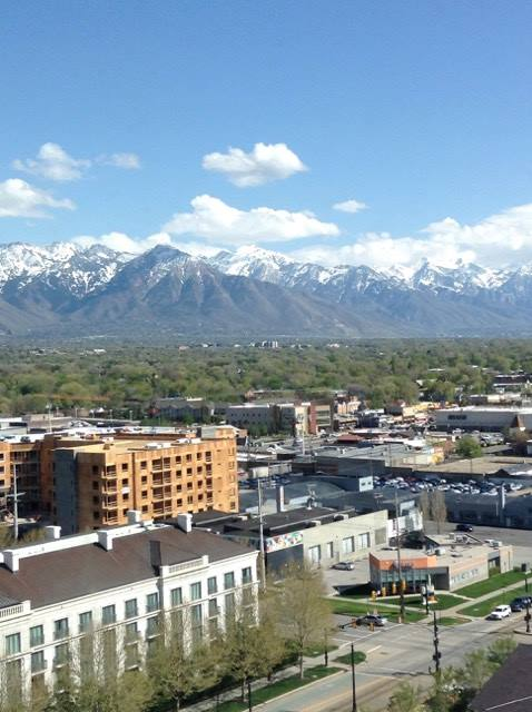Little America Hotels room view of Salt Lake City, Utah